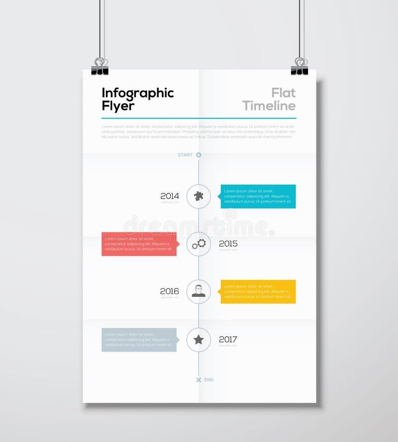 Moderne infographic het malplaatje vectorillustratie van de vliegerchronologie stock illustratie