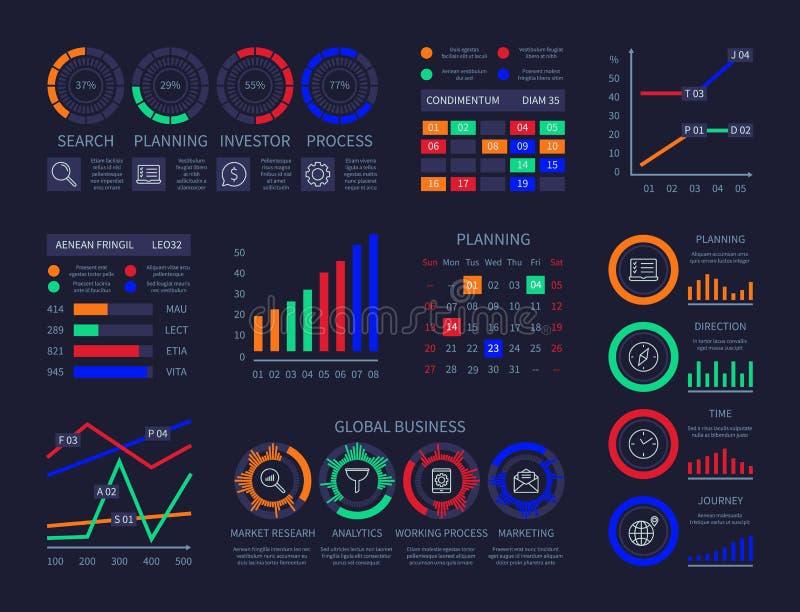 Moderne infographic hud Zeitachsestatistikfinanzdiagramminformationssichtbarmachungsillustrations-Datenanalyseforschung lizenzfreie abbildung