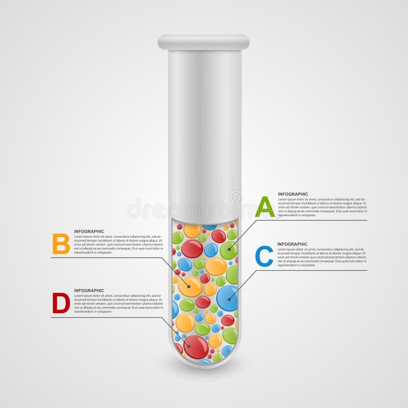 Moderne infographic op wetenschap en geneeskunde in de vorm van reageerbuizen vector illustratie