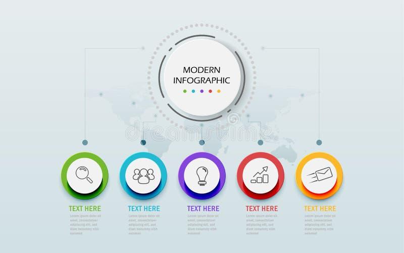 Moderne infographic Schablone der Zusammenfassung 3D Wirtschaftskreis mit Wahlen für Darstellungsarbeitsflussdiagramm Fünf Schrit stock abbildung