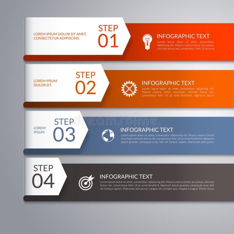 Moderne infographic Schablone mit gebogenen Papierpfeilen 4 Schritte, Teile, Wahlen, inszeniert abstrakten Vektorhintergrund stock abbildung