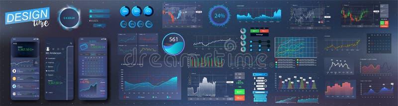Moderne infographic Vektorschablone mit Statistikdiagrammen lizenzfreie abbildung