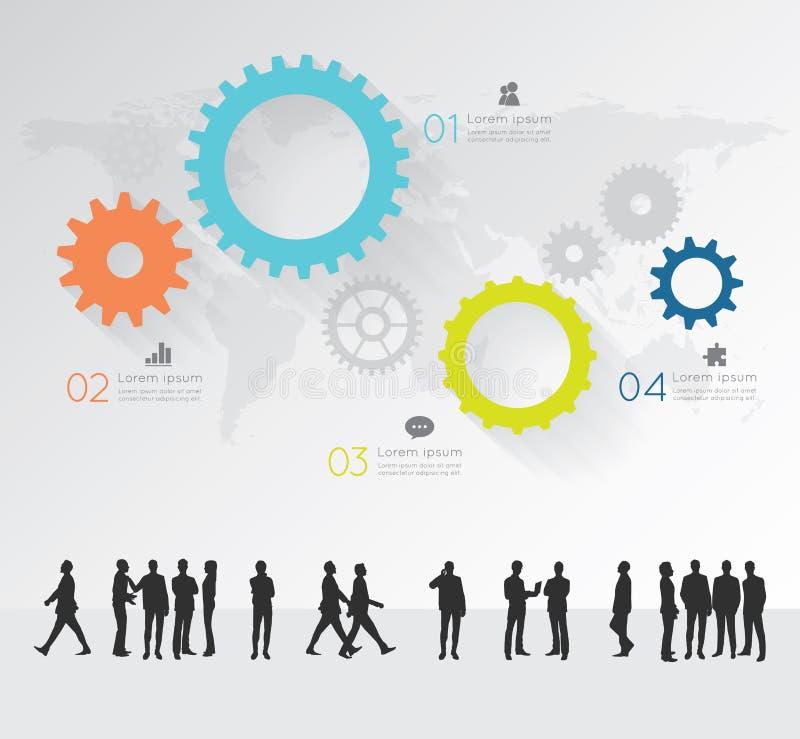 Moderne infographic voor bedrijfsproject met silhouetmensen vector illustratie