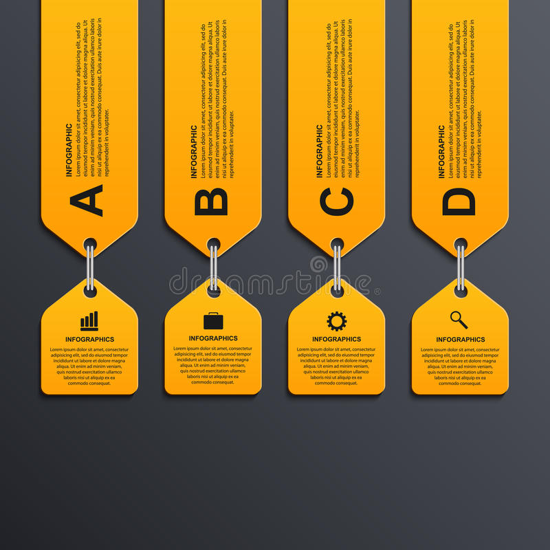 Moderne infographic Wahlfahne Vier Schneeflocken auf weißem Hintergrund lizenzfreie abbildung