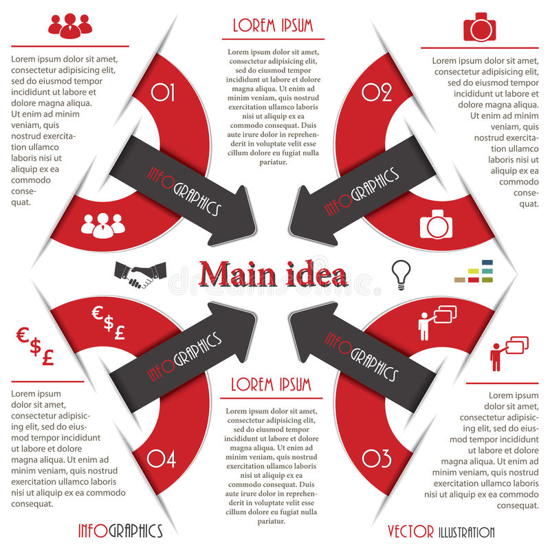 Moderne Infographics-Schablone mit Pfeil. Geschäftsdesign. lizenzfreie abbildung