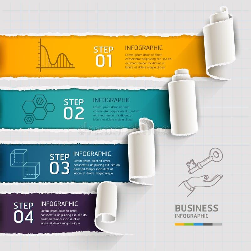 Moderne infographicsmalplaatje gescheurde document stijl vector illustratie