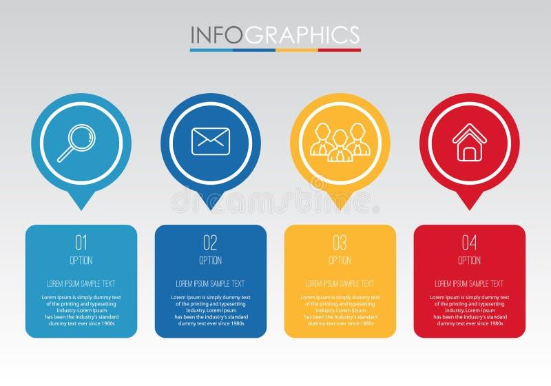 Moderne Information-Grafik Schablone für Geschäft mit vier Schritten Mehrfarbendesign, Aufkleber entwerfen, Vektorinformationgrap vektor abbildung