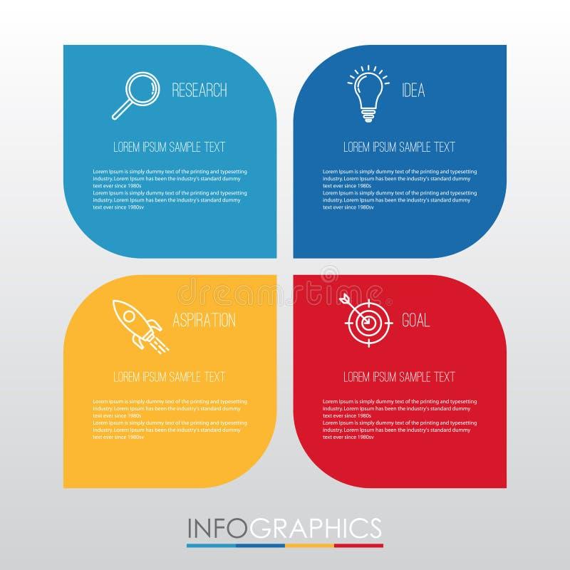 Moderne Information-Grafik Schablone für Geschäft mit vier Schritten Mehrfarbendesign, Aufkleber entwerfen, Vektorinformationgrap stock abbildung