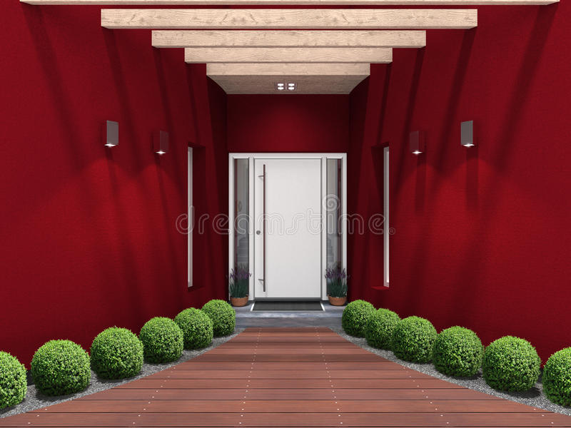 Moderne ingang met witte voordeur stock illustratie afbeelding 48775450 - Moderne tuin ingang ...