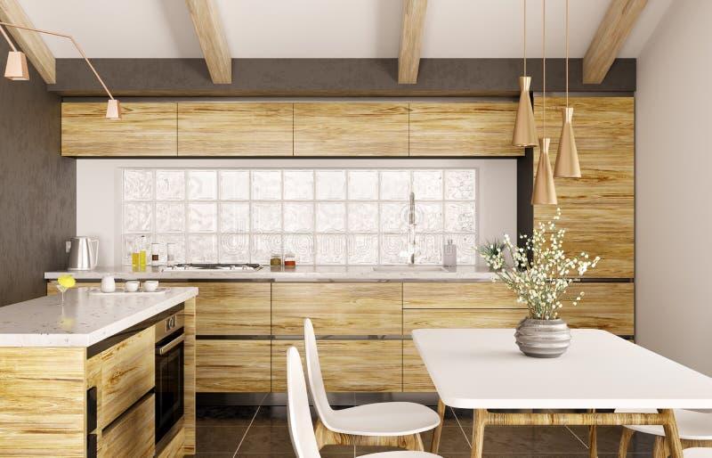 Moderne Innenarchitektur der hölzernen Küche mit Insel 3d renderin vektor abbildung