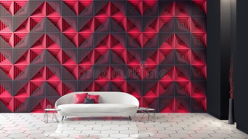 Moderne Innenarchitektur des futuristischen Wohnzimmers 3d ?bertr?gt stock abbildung
