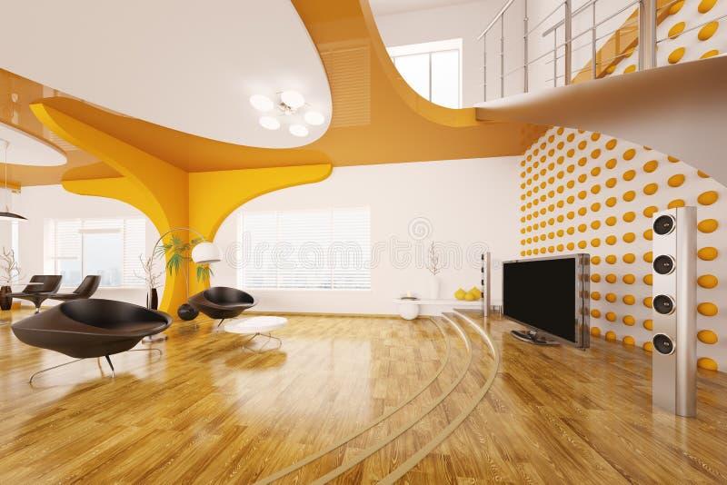 Moderne Innenarchitektur des Wohnzimmers 3d überträgt vektor abbildung