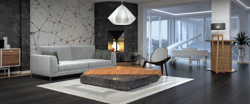 Moderne Innenarchitektur des Wohnzimmers stockfoto