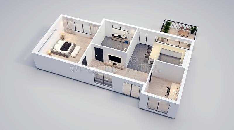 Moderne Innenarchitektur, lokalisierter Grundriss mit weißen Wänden, Plan der Wohnung, Haus, Möbel, isometrisch, Perspektive lizenzfreie abbildung