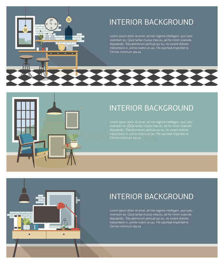Moderne Innenfahnen eingestellt Küche, Wohnzimmer, Arbeitsplatz in der Dachbodenart Horizontale Schablonen des bunten flachen Vek stock abbildung