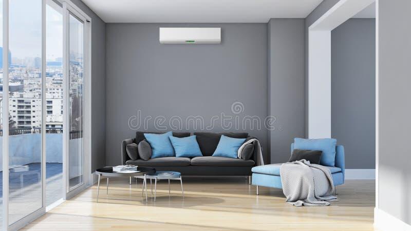 Moderne Innenwohnung mit der Klimaanlage 3D, die Kranken überträgt lizenzfreie abbildung