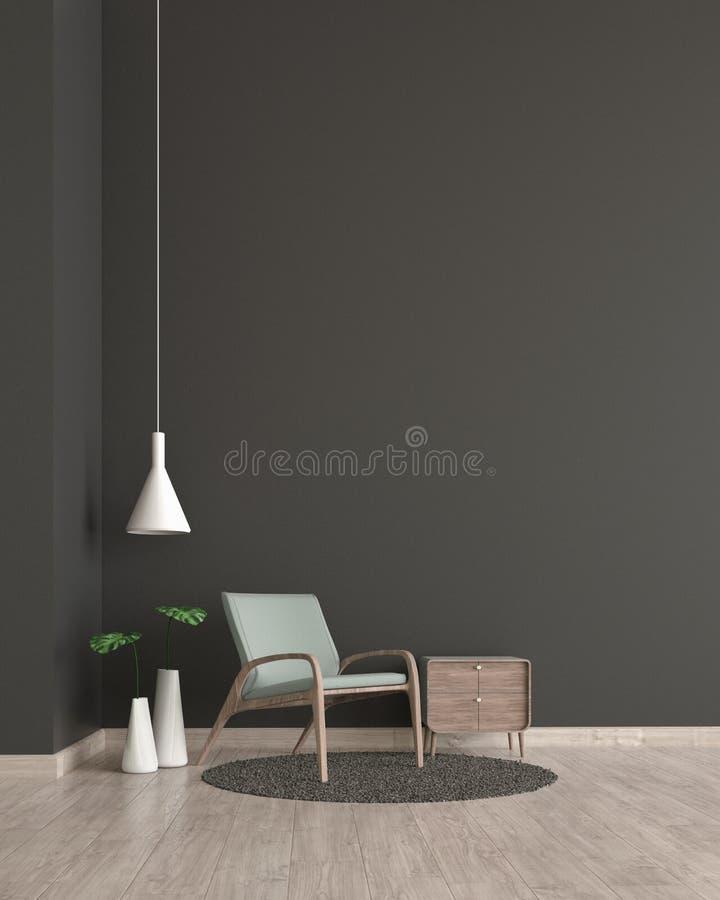 Moderne Innenwohnzimmerholzfußbodenschwarzwand mit grüner Stuhlschablone für Spott herauf Wiedergabe 3d minimaler Wohnzimmerentwu stock abbildung