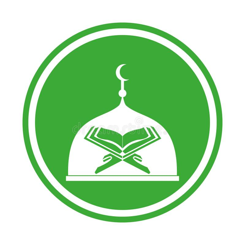 Moderne islamische Moschee und Quran Logo In Isolated White Background stock abbildung