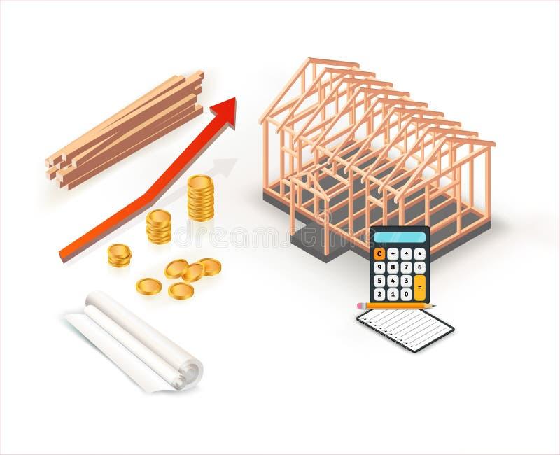 Moderne isometrische huisbouw met stapels gouden muntstukken in bezitsinvestering De groeiontwerp van de bouwconstructiebegroting stock illustratie