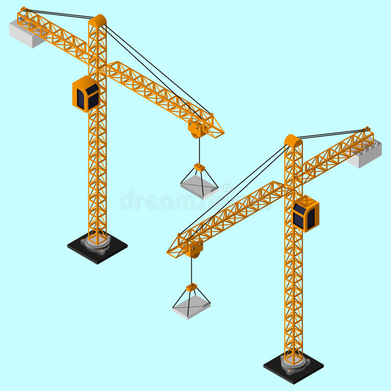 Moderne isometrische industriële kranen stock illustratie
