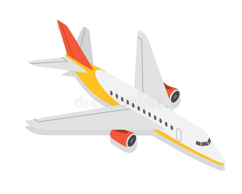 Moderne Isometrische Particuliere sector Jet Airplane Air Transportation Illustration stock illustratie