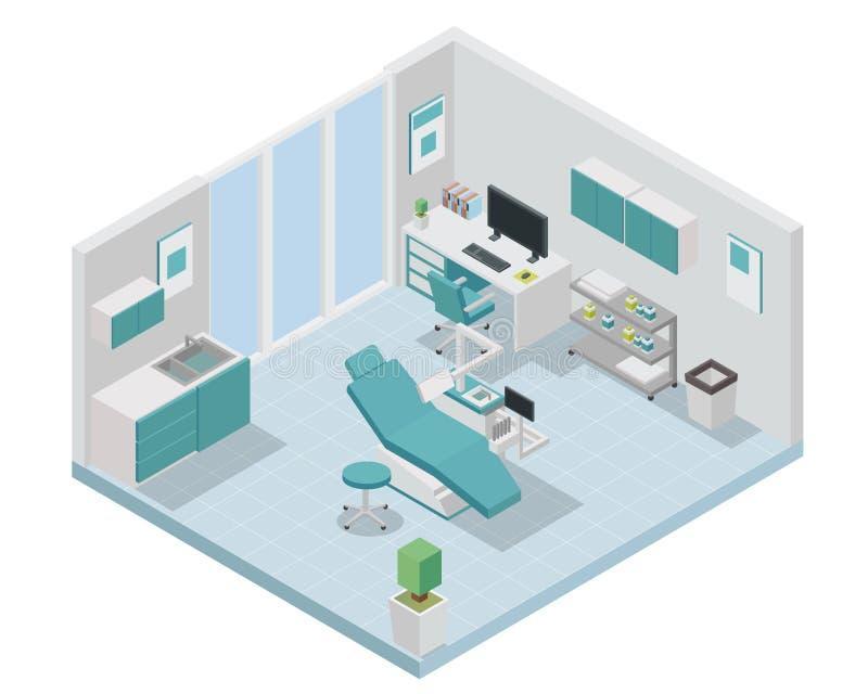 Moderne Isometrische Tandarts Clinic Interior Design royalty-vrije illustratie
