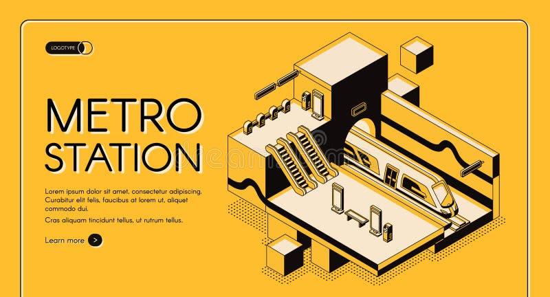 Moderne isometrische Vektorwebsite der Metrostation stock abbildung