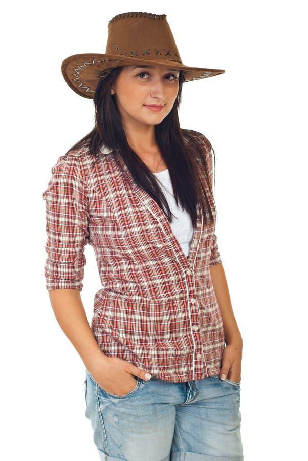 Moderne jonge vrouw met cowboyhoed stock fotografie