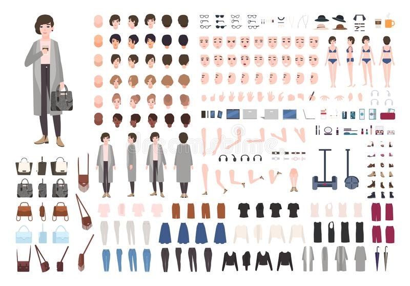 Moderne jonge vrouw of yuppieanimatieuitrusting Inzameling van vrouwelijke lichaamsdelen in verschillende houdingen, in kapsels, vector illustratie