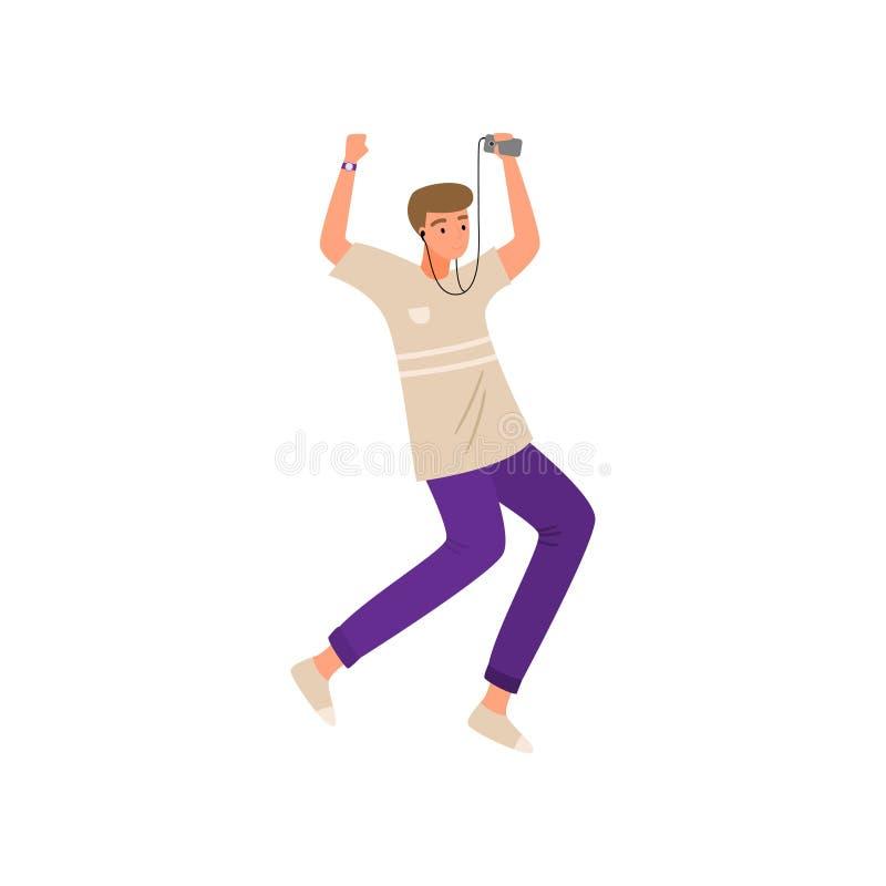 Moderne jongen die met muziekapparaat en oortelefoons dansen in broek royalty-vrije illustratie