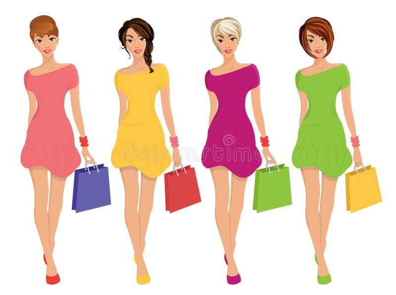 Moderne junge sexy Einkaufs-Mädchenzahlen mit lokalisierter Illustration der Verkaufsmode Taschen stock abbildung