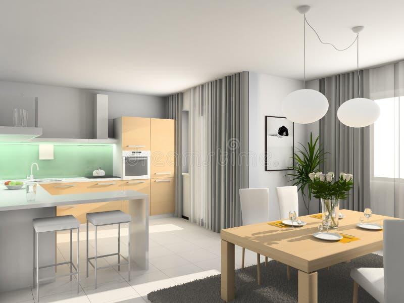 Moderne Küche. 3D übertragen lizenzfreie stockfotografie