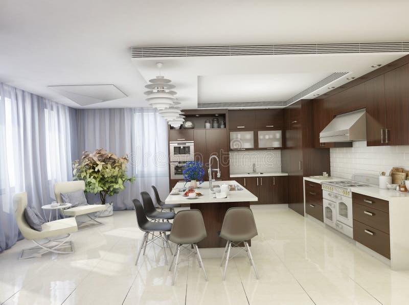 Moderne Küche in einem Privateigentum lizenzfreie abbildung