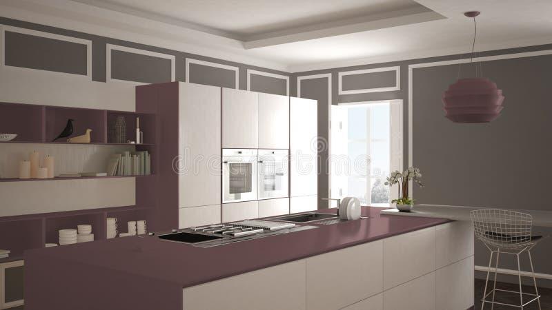 Moderne Küche im klassischen Innenraum, Insel mit Schemeln und großer Innenarchitektur der Fenster- zwei, weißer und Purpurroterr lizenzfreie abbildung