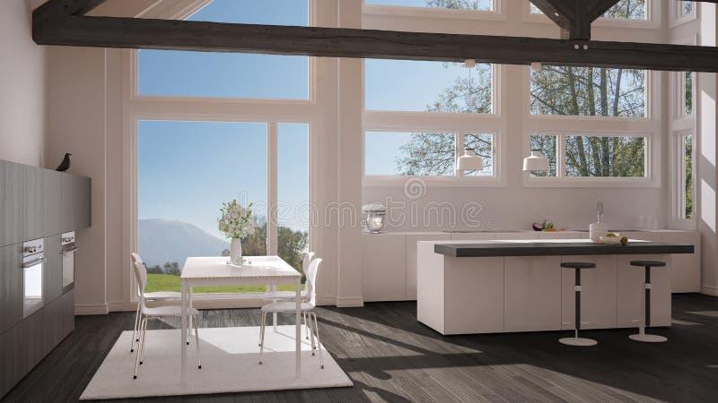 Moderne Küche Im Klassischen Landhaus, Dachboden, Große Panoramische ...
