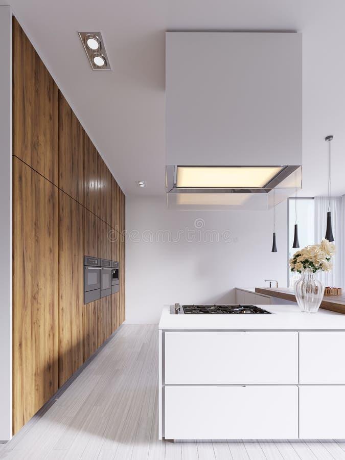 Moderne Küche Minimalistic im Weiß mit Elementen von Hartholz Platten und Countertops Eingebaute Geräte, hängende Lampen und frei stock abbildung