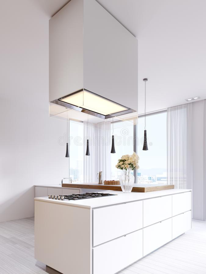 Moderne Küche Minimalistic im Weiß mit Elementen von Hartholz Platten und Countertops Eingebaute Geräte, hängende Lampen und frei lizenzfreie abbildung