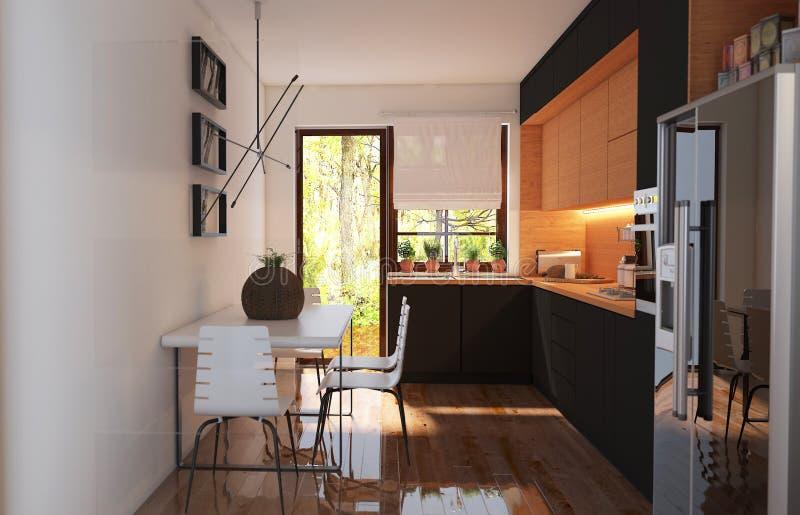 Moderne Küche mit Ansicht im Freien stockfotografie