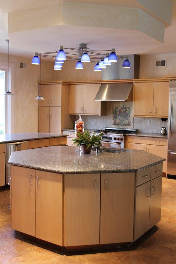 Moderne Küche mit aufgetragenen Aluminiumgeräten. stockfotografie