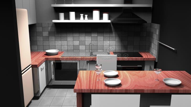 Moderne Küche mit hölzernen Teilen stock abbildung