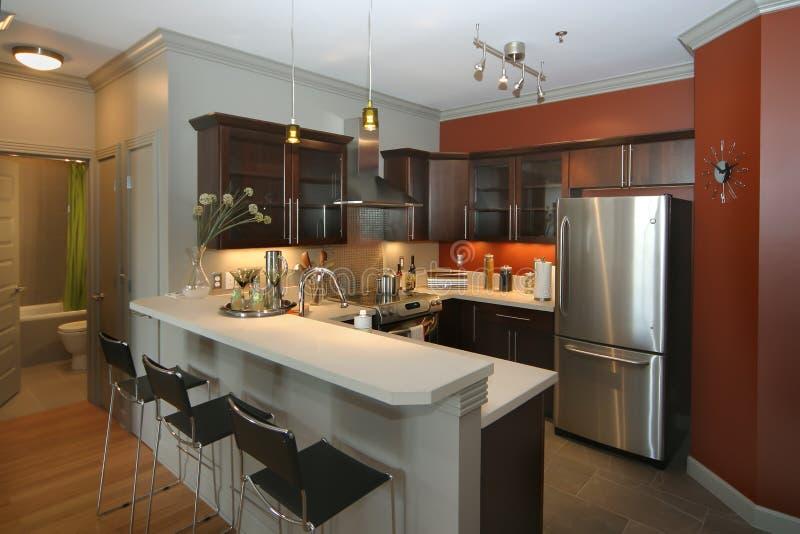 Moderne Küche mit Stabbereich stockfoto