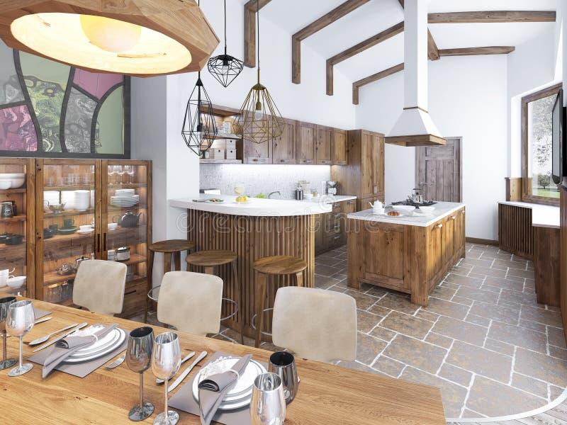 Moderne Küche Und Esszimmer Im Dachboden Stockbild - Bild von ...