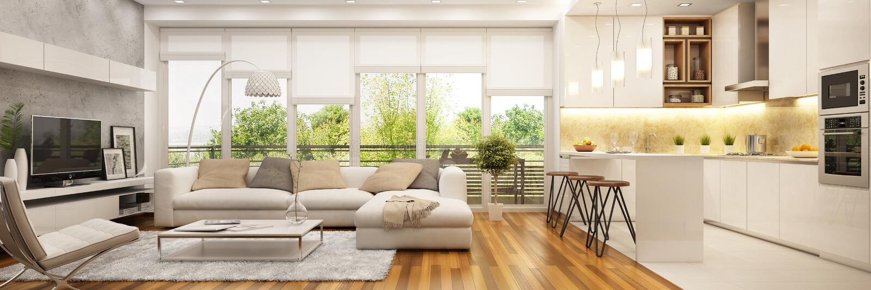 Moderne Küche und moderner Innenraum lizenzfreie abbildung