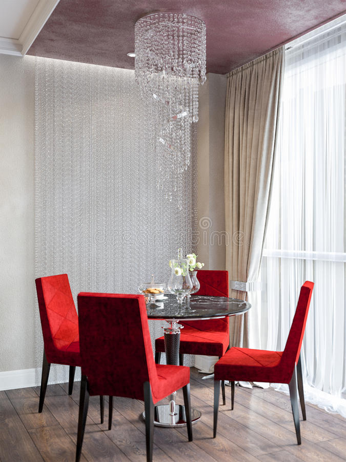 Moderne Küchen-Esszimmer-Innenarchitektur stock abbildung