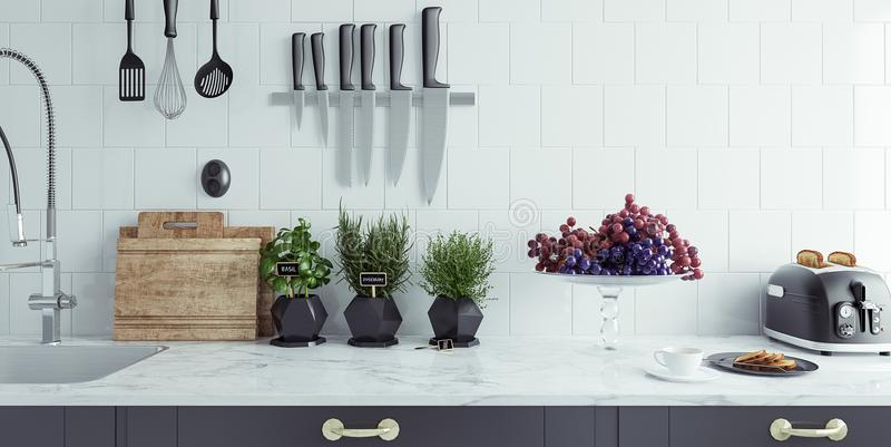 Moderne Kücheninnenraumnahaufnahme lizenzfreies stockbild