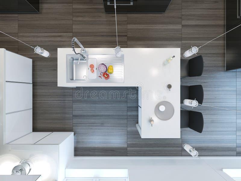 Küchenstange moderne küchenstange der draufsicht stock abbildung illustration