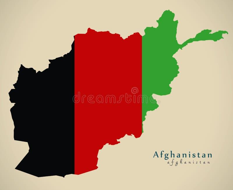 Moderne Kaart - Afghanistan vlag gekleurde AF stock illustratie