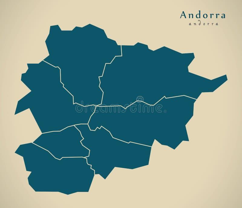 Moderne Kaart - Andorra met districtenadvertentie vector illustratie