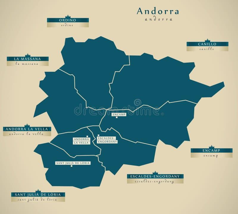 Moderne Kaart - Andorra met stedenadvertentie vector illustratie