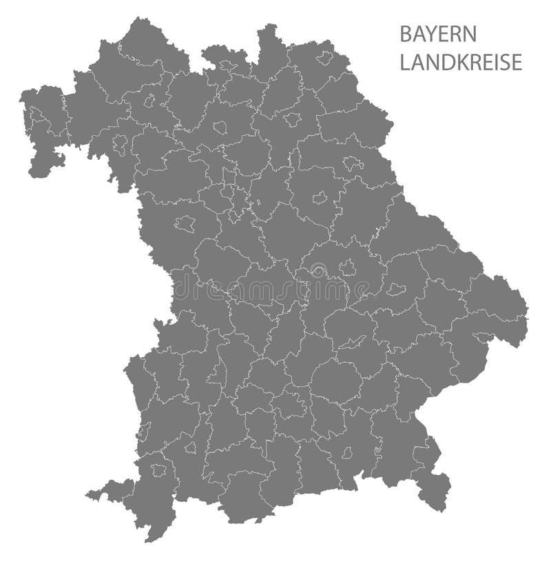 Moderne Kaart - de kaart van Beieren van Duitsland met grijze provincies stock illustratie